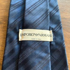 Emporio Armani Navy Blue Striped Silk Tie